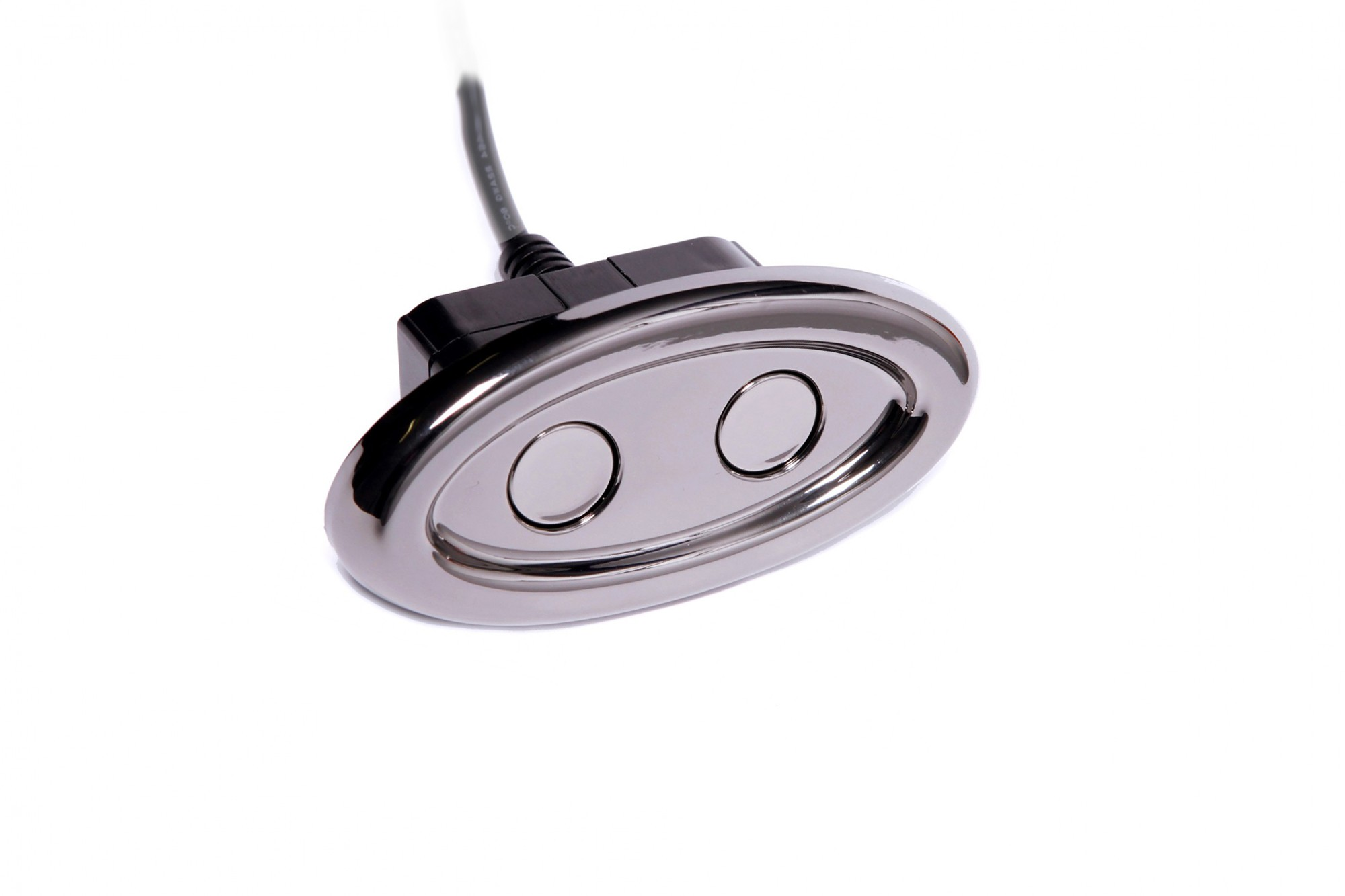 2-Button Oval Power Recline Switch in Black Chrome Finish