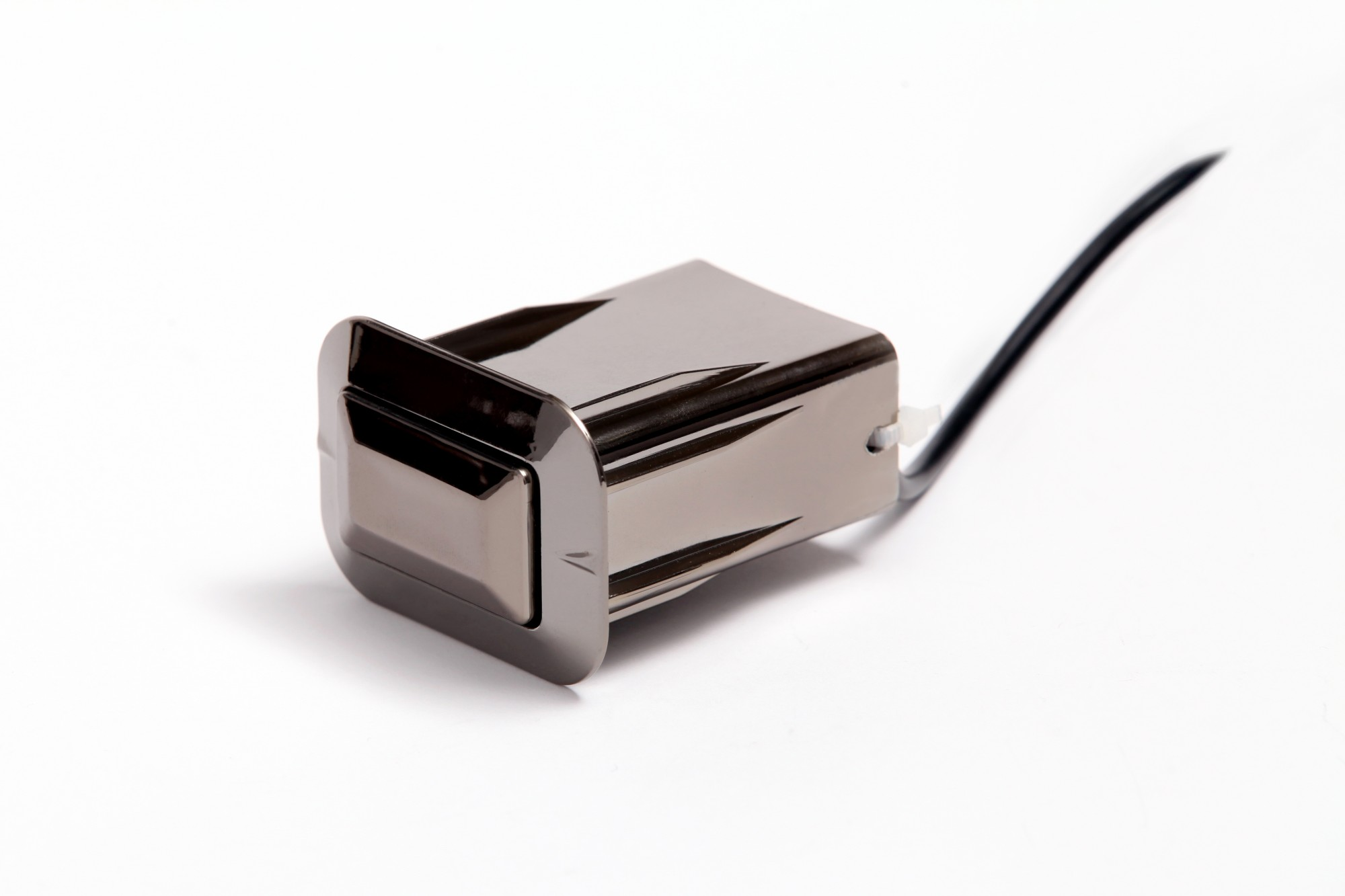 Pop-Up Rectangular Dual Port USB Charger in Black Chrome