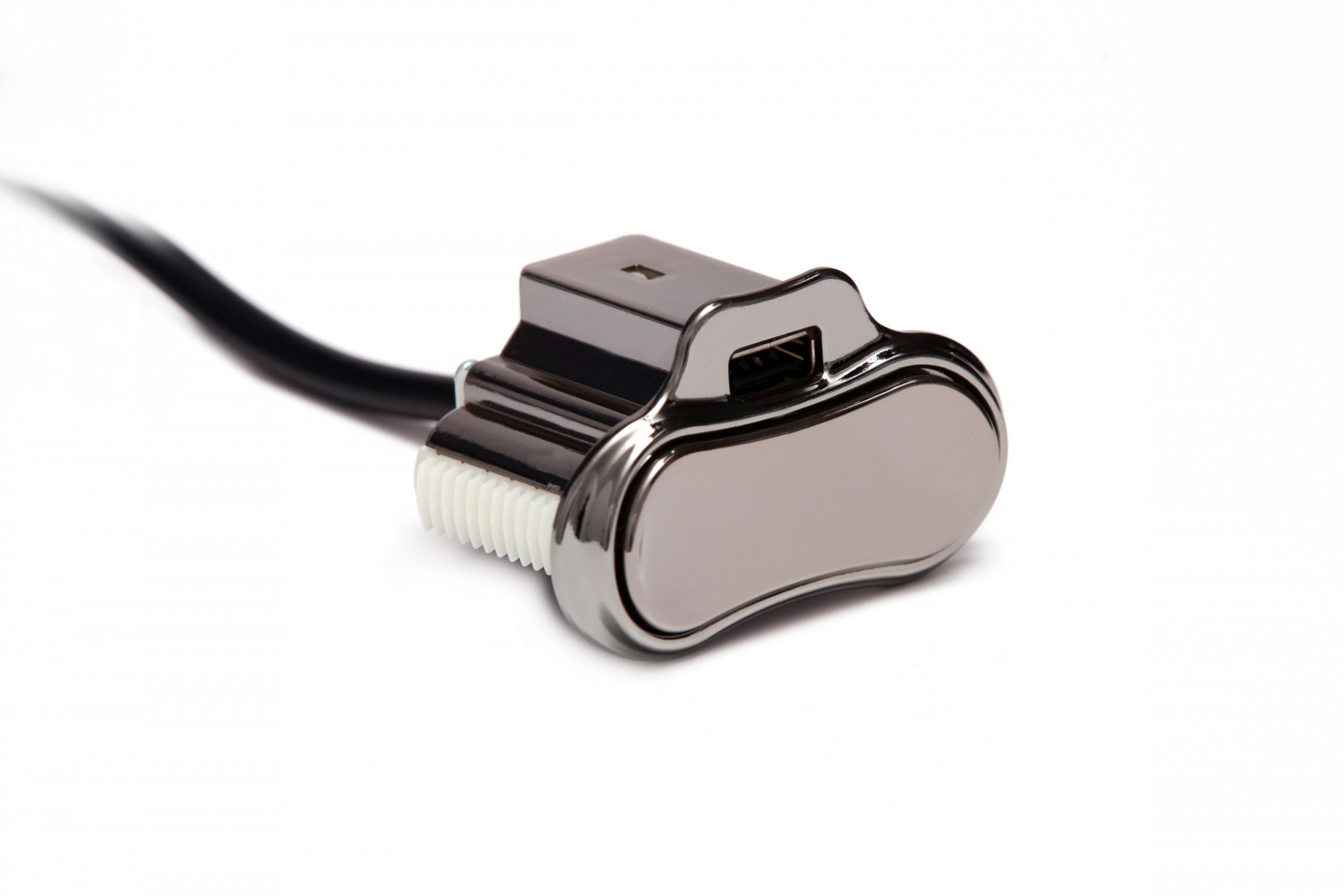 Power Recline Toggle Switch w/ Single USB Charger in Black Chrome