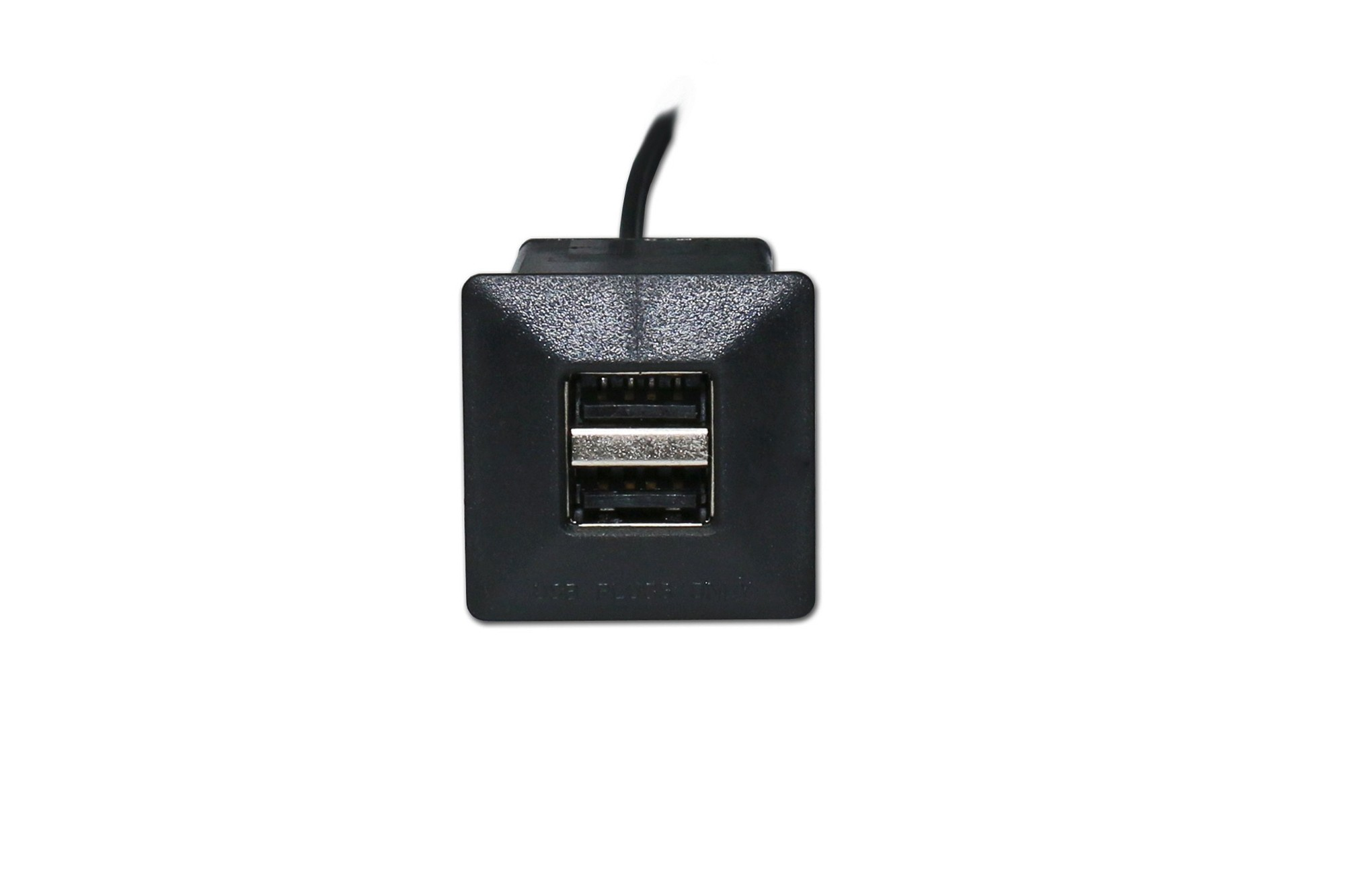 Dual USB charger, mini square with barrel connector