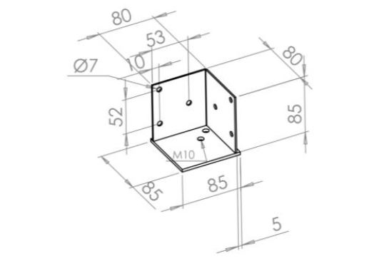 basic corner connector 80X80X83X2